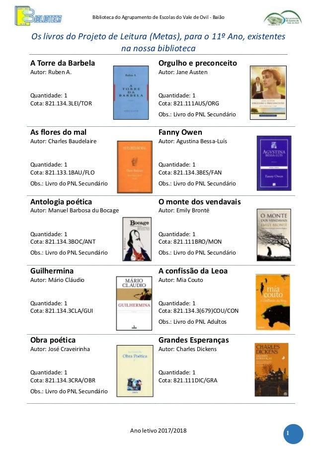 Biblioteca do Agrupamento de Escolas do Vale de Ovil - Baião Ano letivo 2017/2018 1 Os livros do Projeto de Leitura (Metas...
