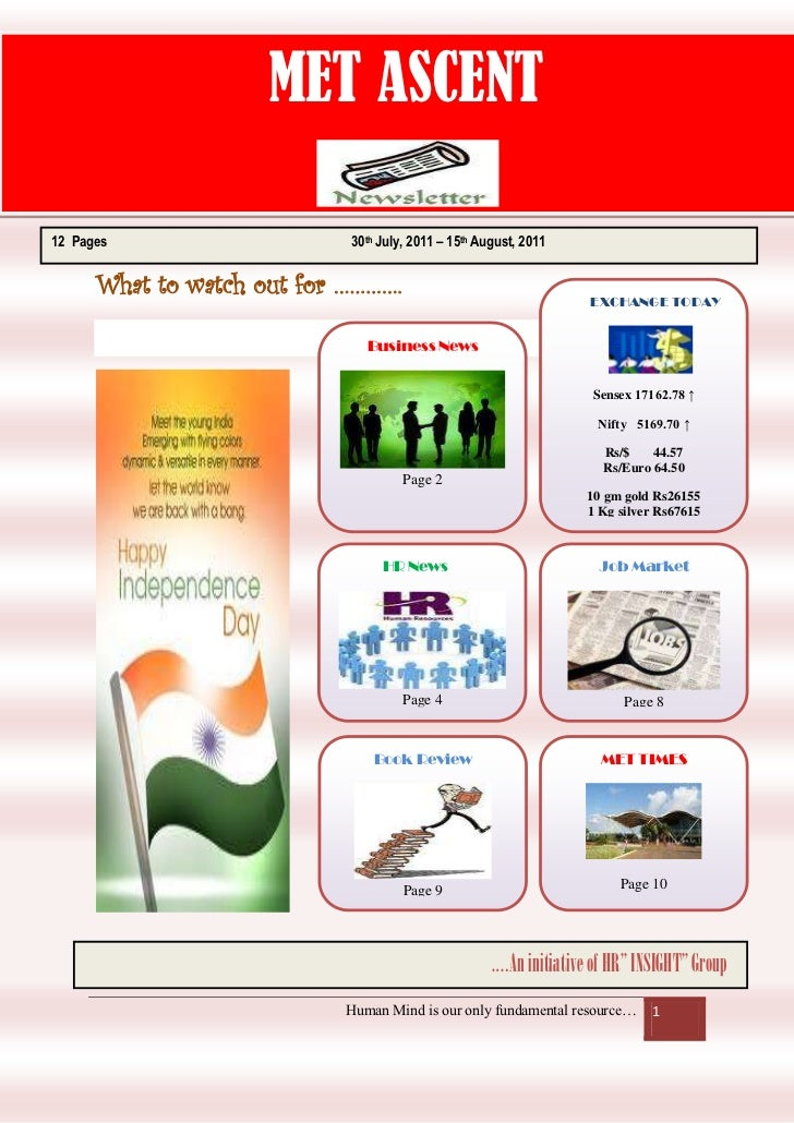 MET ASCENT12 Pages                    30th July, 2011 – 15th August, 2011      What to watch out for ………….                ...