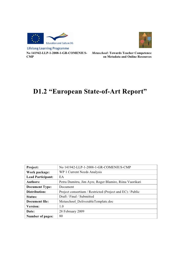 No 141942-LLP-1-2008-1-GR-COMENIUS-       Metaschool: Towards Teacher Competence CMP                                      ...