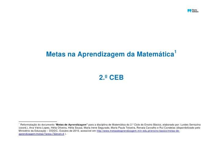 Oo                       Metas na Aprendizagem da Matemática1                                                             ...