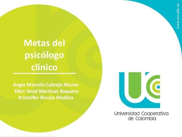 Metas del  psicólogo  clínico  Angie Marcela Cabrejo Moran  Elkin Yesid Martínez Baquero  Kristoffer Rincón Medina