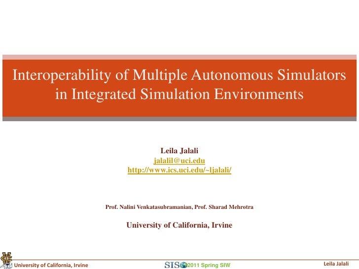 Interoperability of Multiple Autonomous Simulators       in Integrated Simulation Environments                            ...