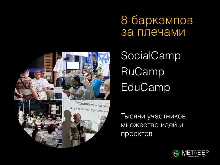 8 баркэмповза плечамиSocialCampRuCampEduCampТысячи участников,множество идей ипроектов