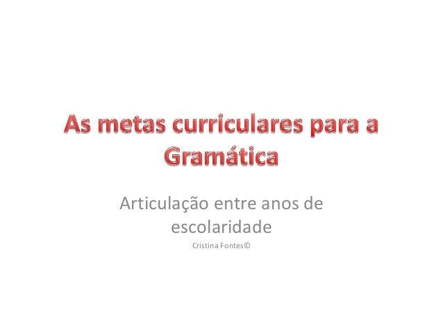 Articulação entre anos de escolaridade Cristina Fontes©