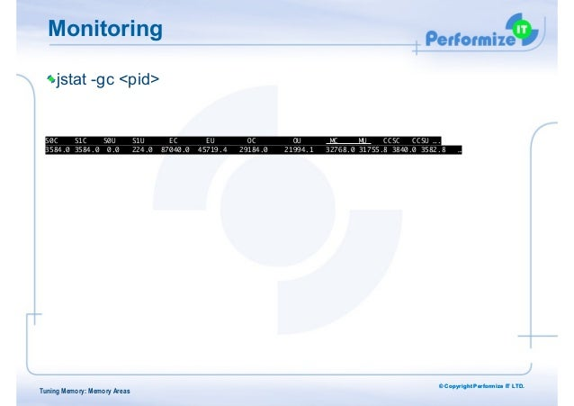 © Copyright Performize IT LTD. Monitoring jstat -gc <pid> ! ! S0C S1C S0U S1U EC EU OC OU MC MU CCSC CCSU ….  3584.0 3584...