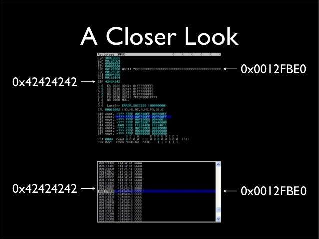 A Closer Look 0x42424242 0x42424242 0x0012FBE0 0x0012FBE0