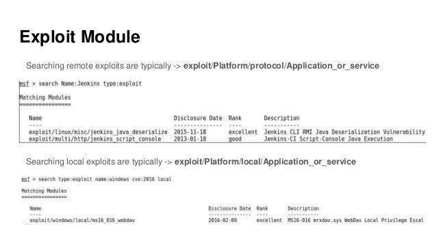 Exploit Module Searching remote exploits are typically -> exploit/Platform/protocol/Application_or_service Searching local...