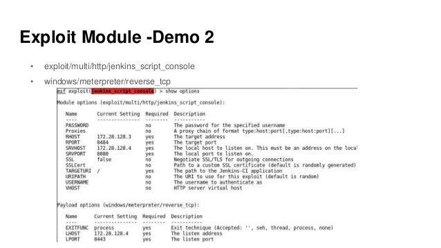 Exploit Module -Demo 2 • exploit/multi/http/jenkins_script_console • windows/meterpreter/reverse_tcp