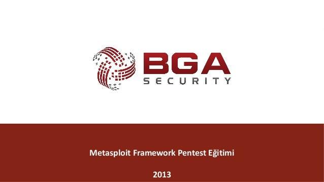 @BGASecurity BGA|Metasploit @BGASecurity MetasploitFrameworkPentest Eğitimi 2013
