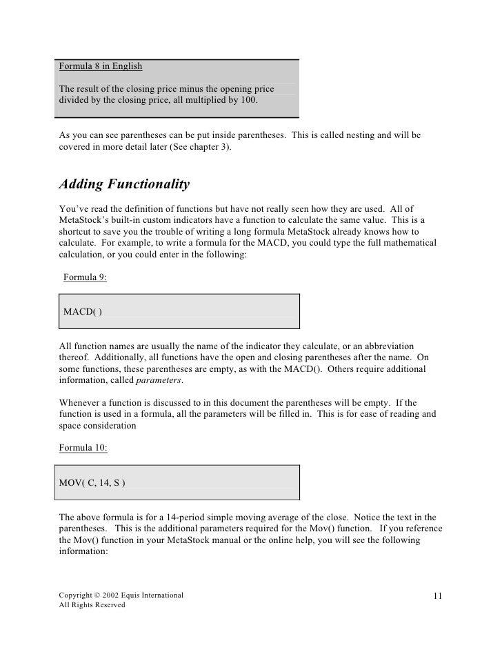 MetaStock Tutorial And Manual