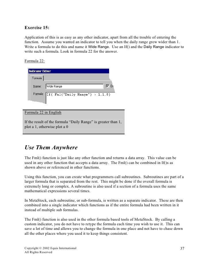 METASTOCK FORMULA PRIMER PDF DOWNLOAD