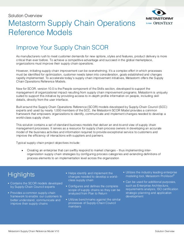 Solution Overview  Metastorm Supply Chain Operations Reference Models Improve Your Supply Chain SCOR As manufacturers rush...