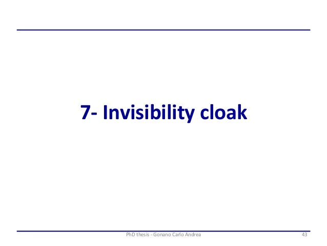 invisibility thesis 2013-1-15  development€and€gender€equality: consequences,€causes,€challenges€and€cures abstract  general invisibility and the power to make decisions in.