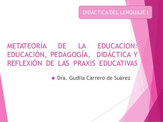 METATEORÍA DE LA EDUCACION: EDUCACIÓN, PEDAGOGÍA, DIDÁCTICA Y REFLEXIÓN DE LAS PRAXIS EDUCATIVAS  Dra. Gudila Carrero de ...