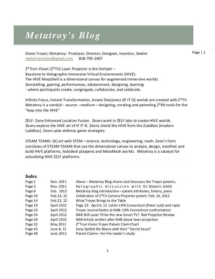 Metatroys BlogDiane Troyer; Metatroy: Producer, Director, Designer, Inventor, Seeker                              Page | 1...