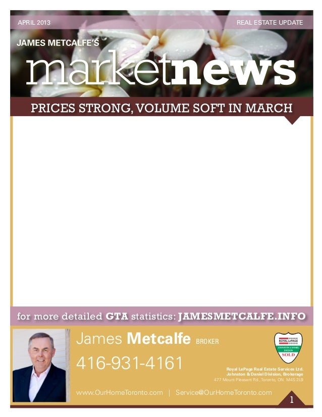 1 for more detailed GTA statistics: JAMESMETCALFE.INFO 416-931-4161 James Metcalfe BROKER www.OurHomeToronto.com | Service...