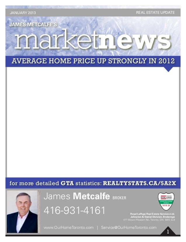 1 for more detailed GTA statistics: REALTYSTATS.CA/5A2X 416-931-4161 James Metcalfe BROKER www.OurHomeToronto.com | Servic...