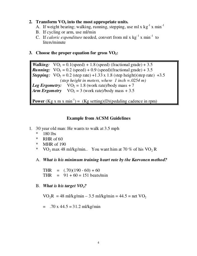 Acsm Metabolic Equations