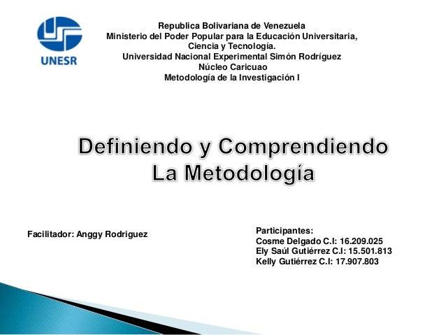 Republica Bolivariana de Venezuela Ministerio del Poder Popular para la Educación Universitaria, Ciencia y Tecnología. Uni...