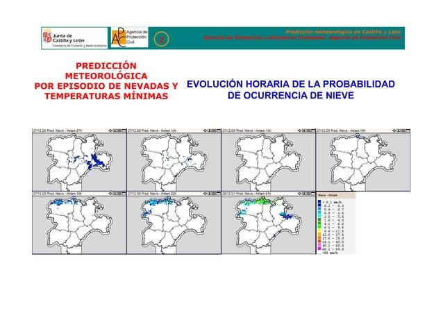 EVOLUCIÓN HORARIA DE LA PROBABILIDAD DE OCURRENCIA DE NIEVE Predicción meteorológica en Castilla y León Servicio de Protec...