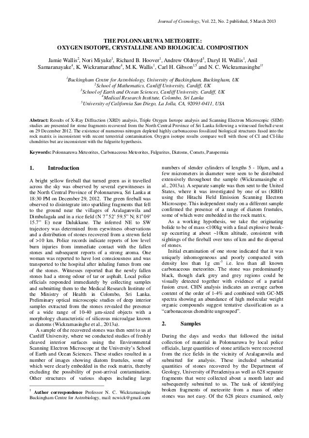 Journal of Cosmology, Vol. 22, No. 2 published, 5 March 2013                           THE POLONNARUWA METEORITE:         ...