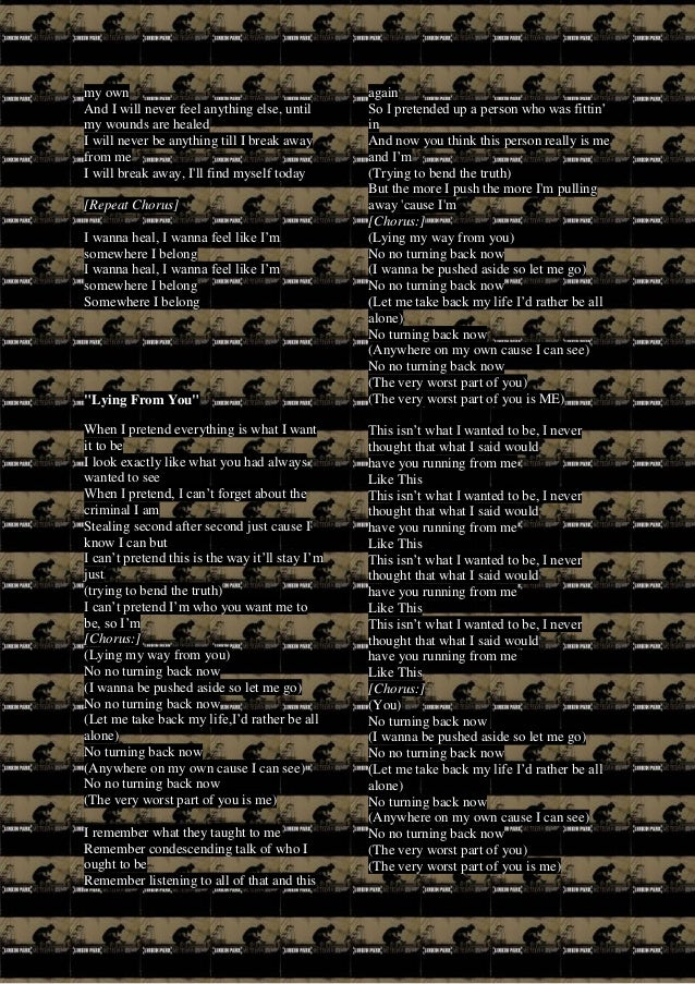 Meteora Lyrics Nobody's listening lyrics performed by linkin park: meteora lyrics