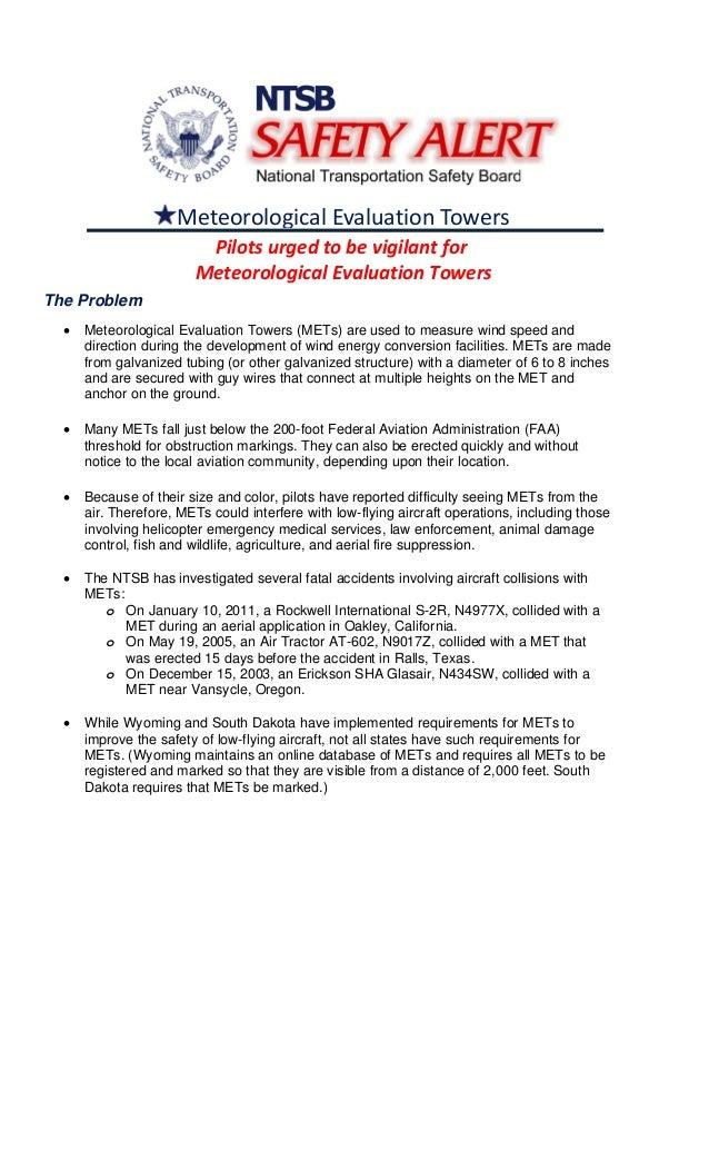 MeteorologicalEvaluationTowers Pilotsurgedtobevigilantfor MeteorologicalEvaluationTowers The Problem • Meteoro...