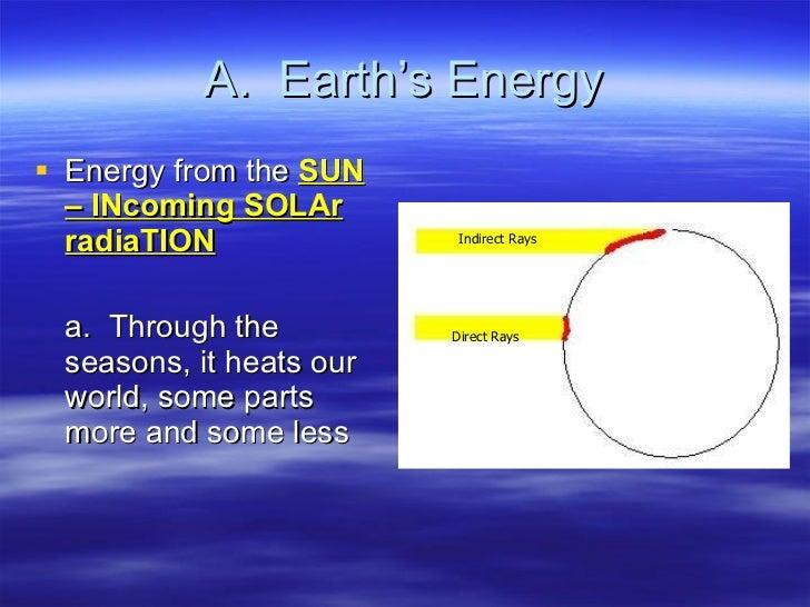 A.  Earth's Energy <ul><li>Energy from the  SUN – INcoming SOLAr radiaTION </li></ul><ul><li>a.  Through the seasons, it h...