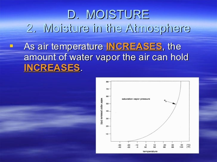 D.  MOISTURE 2.  Moisture in the Atmosphere <ul><li>As air temperature  INCREASES , the amount of water vapor the air can ...