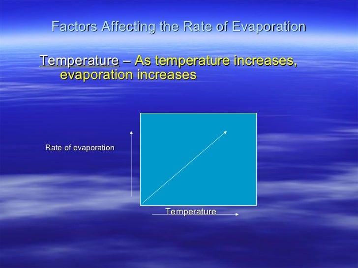 Factors Affecting the Rate of Evaporation <ul><ul><li>Temperature  –  As temperature increases, evaporation increases </li...