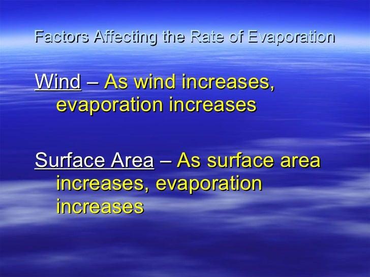Factors Affecting the Rate of Evaporation <ul><ul><li>Wind  –  As wind increases, evaporation increases </li></ul></ul><ul...