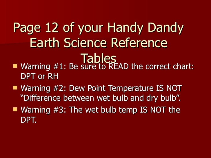 Page 12 of your Handy Dandy Earth Science Reference Tables <ul><li>Warning #1: Be sure to READ the correct chart: DPT or R...