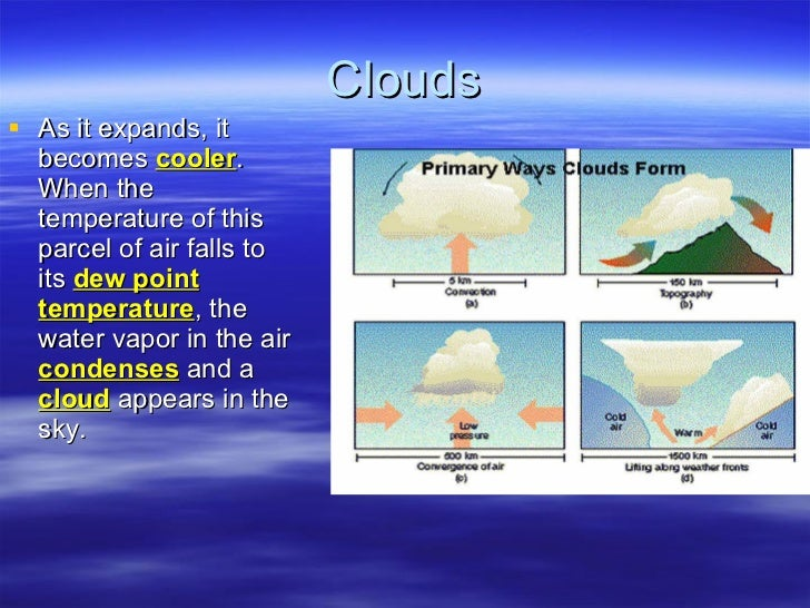 Clouds <ul><li>As it expands, it becomes  cooler .  When the temperature of this parcel of air falls to its  dew point tem...