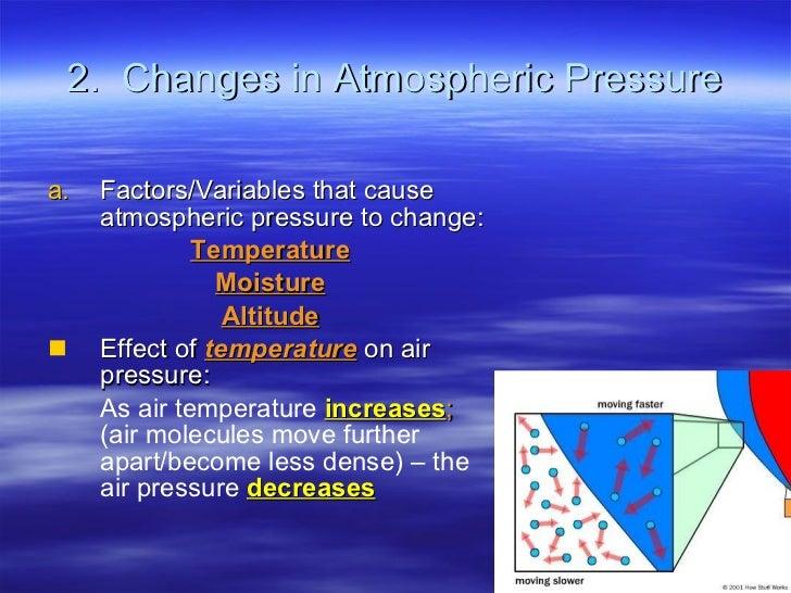 2.  Changes in Atmospheric Pressure <ul><li>Factors/Variables that cause atmospheric pressure to change: </li></ul><ul><li...