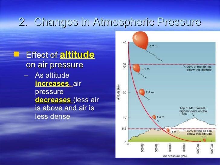 2.  Changes in Atmospheric Pressure <ul><li>Effect of  altitude  on air pressure </li></ul><ul><ul><li>As altitude   incre...