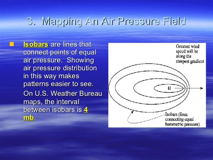 3.  Mapping An Air Pressure Field <ul><li>Isobars  are lines that connect points of equal air pressure.  Showing air press...