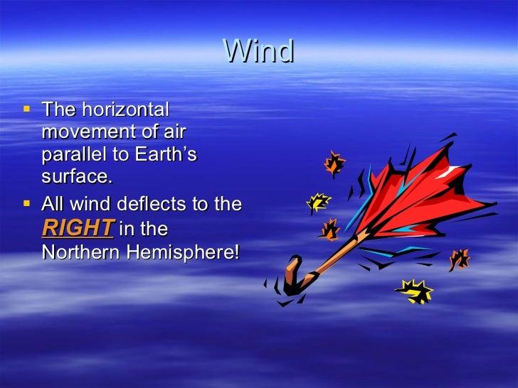 Wind <ul><li>The horizontal movement of air parallel to Earth's surface. </li></ul><ul><li>All wind deflects to the  RIGHT...