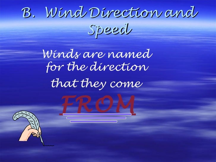 B.  Wind Direction and Speed Winds are named  for the direction  that they come   FROM