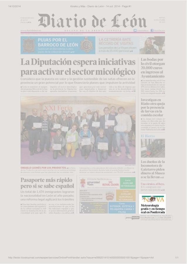 14/10/2014 Kiosko y Más - Diario de León - 14 oct. 2014 - Page #1  R 1 · 1,40 € 1Dia tio be l!cón ..¡..,,,/.,v,.J1 .. 1r1o...