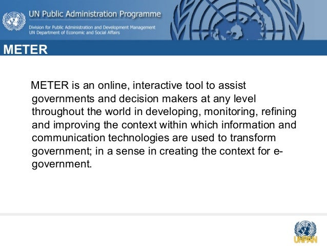 Meter - Online tools for measuring e-government readiness Slide 3