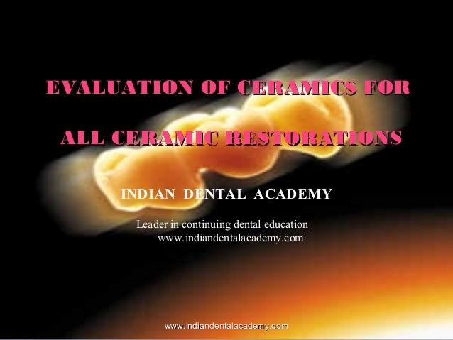 Metal free ceramics / dental ceramic lab courses
