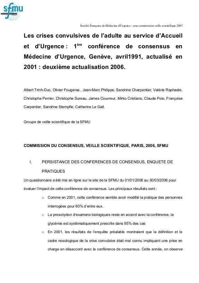 Société Française de Médecine d'Urgence - sous commission veille scientifique 2007 Les crises convulsives de l'adulte au s...