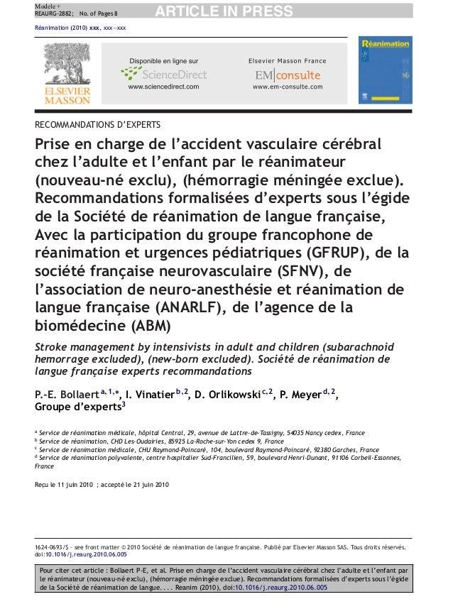 Pour citer cet article : Bollaert P-E, et al. Prise en charge de l'accident vasculaire cérébral chez l'adulte et l'enfant ...