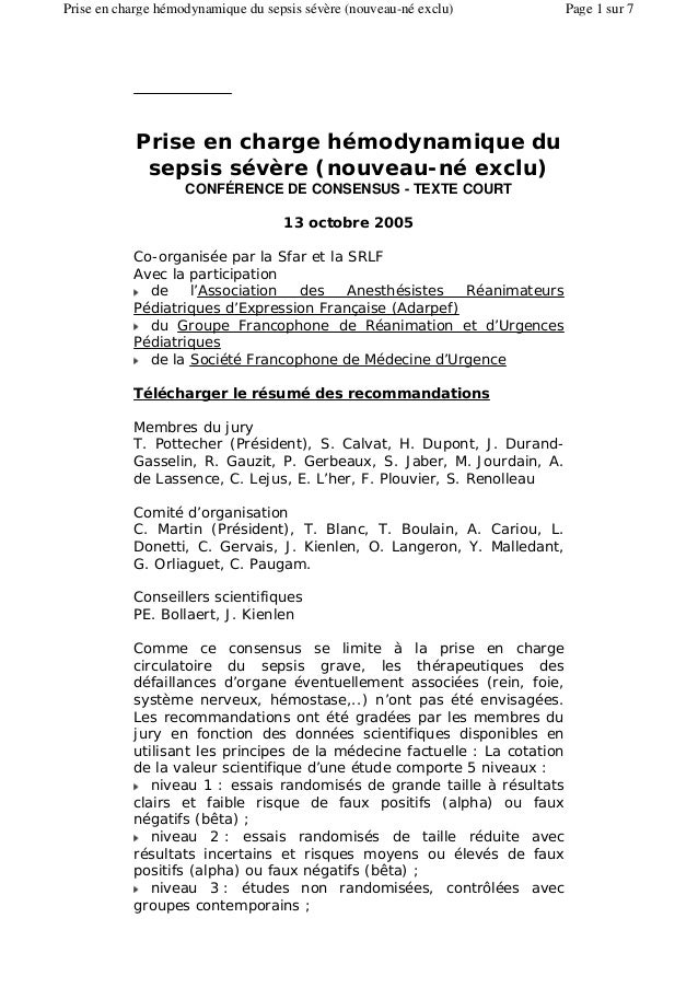 Prise en charge hémodynamique du sepsis sévère (nouveau-né exclu) CONFÉRENCE DE CONSENSUS - TEXTE COURT 13 octobre 2005 Co...