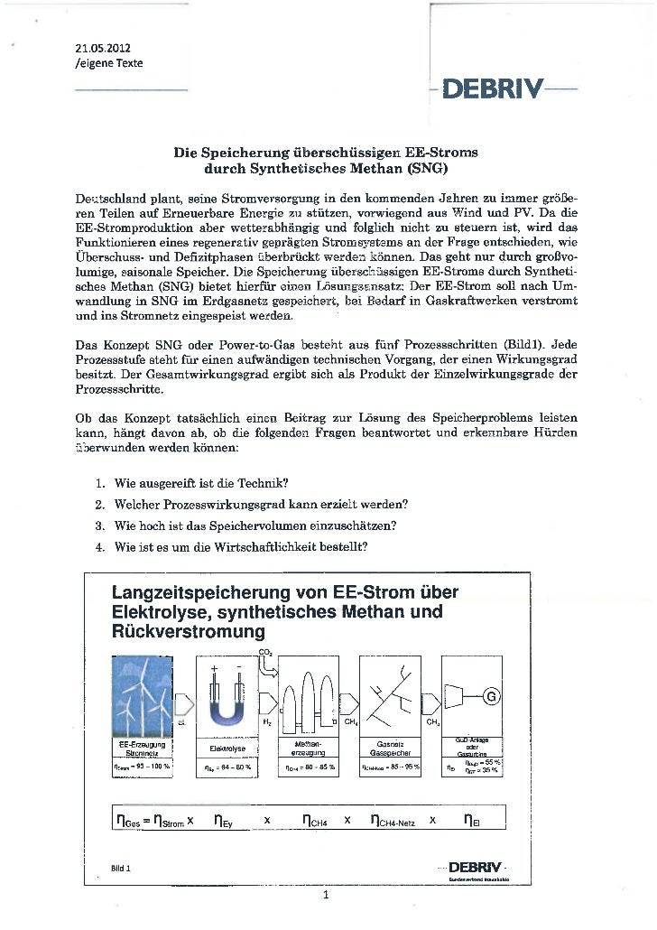 Methanisierung von EE-Strom