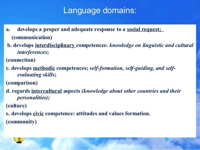 12 domains of culture on language and communication Culture of republic of congo republic of congo  another 12 percent live along the main railway between those cities  french is the official language and is.