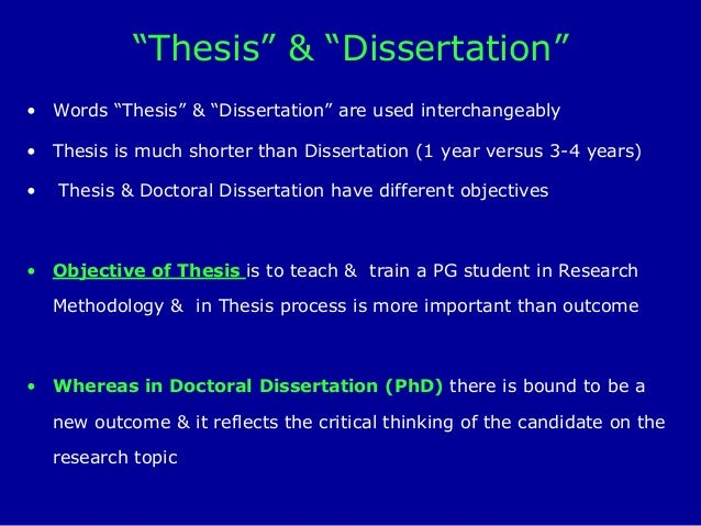 doctoral thesis versus dissertation