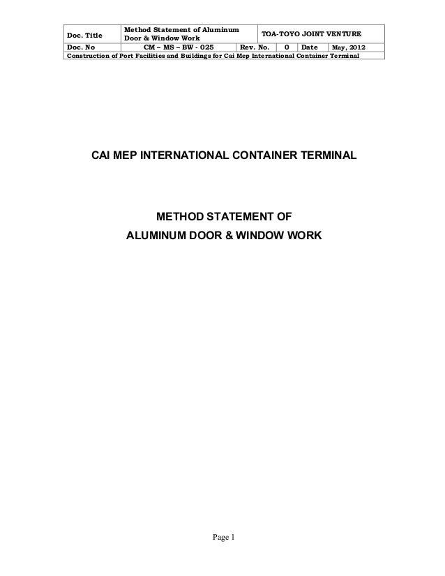 Title Method Statement of Aluminum Door \u0026 Window Work TOA-TOYO JOINT VENTURE ...  sc 1 st  SlideShare & Method aluminum door \u0026 window