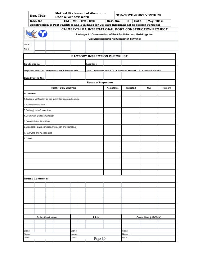 Doc. Title Method Statement ... Intended For Method Statement Template Doc